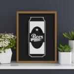 Quadro Porta Lacres Beer Lata p/ Cozinhas Bares Área de Churrasco, C/ vidro 3mm e Moldura em Madeira na Cor Mel