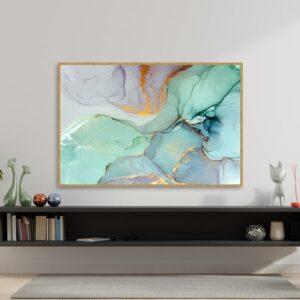 Quadro Abstrato Verde para Sala Quarto Hotéis Escritório, 80x120cm C/ Vidro 3mm e Moldura na Cor Mel