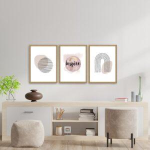 kit de Quadros Escandinavos Inspire para Sala Quarto Hotéis Escritório,40x50cm, Vidro 3mm e Moldura na Cor Mel