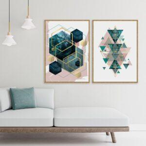 Par de Quadros Escandinavos Formas Geométricas Verde e Rosa para Sala Quarto Hotéis Escritório, 60x90cm, Vidro 3mm e Moldura na Cor Mel