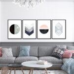 Kit de 4 Quadros Decorativos Escandinavos para Sala Quarto Hotéis Escritório, 50x70cm, Vidro 3mm e Moldura na Cor Preta