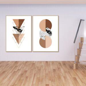 Kit de 2 Quadros Escandinavos Minimalistas Terracotta para Sala Quarto Hotéis Escritório, 60x90cm, Vidro 3mm e Moldura na Cor Mel