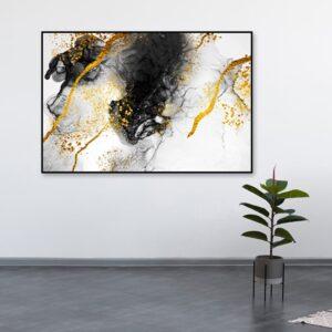 Quadro Abstrato Mármore Preto, Branco e Dourado para Sala Quarto Hotéis Escritório, 80x120cm C/ Vidro 3mm e Moldura na Cor Preta