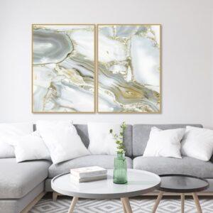 Kit de 2 Quadros Abstratos Mármore Gold Grey para Sala Quarto Hotéis Escritório, 80x120cm, Vidro 3mm e Moldura na Cor Mel