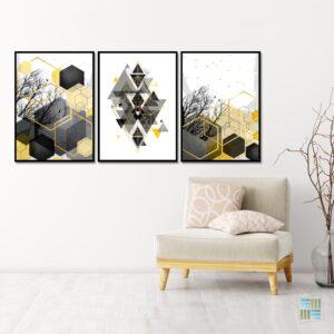 Kit de 3 Quadros Decorativos Escandinavos Geométricos Amarelo e Preto para Sala Quarto Hotéis Escritório, Vidro 3mm e Moldura na Cor Preta
