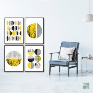 Kit de 4 Quadros Decorativos Escandinavos Circulares Amarelo e Preto para Sala Quarto Hotéis Escritório, 60x50cm, Vidro 3mm e Moldura na Cor Preta