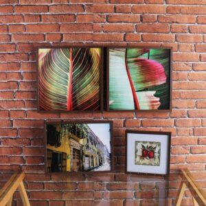 Kit de 2 Quadros Botânicos 40x40cm + 1 Quadro de Cidade 42x32cm + 1 Quadro Porta Chave 27x27cm