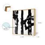 Kit Dois Quadros Grafismo para Salas, Quartos, Hotéis e Escritórios. 60x60cm, Vidro 3mm e Moldura na Cor Preta.