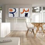 Kit Quadros Abstrato, Escandinavo para Salas, Quartos, Hotéis e Escritórios. 60x60cm, Vidro, Moldura na Cor Preta.