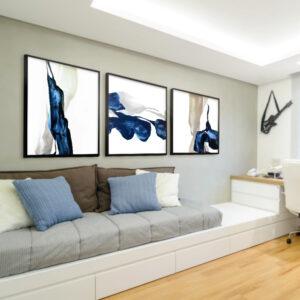 Kit Quadros Abstrato Azul, Salas, Quartos, Hotéis e Escritórios. 60x60cm, Vidro, Moldura na Cor Preta.