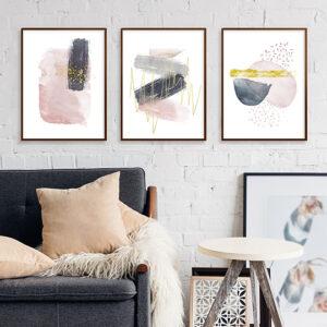 Kit de 3 Quadros Decorativos Abstratos, Escandinavos, Minimalistas para Sala, Quarto, Hotéis, Escritório, 40×60 Vidro 3mm e Moldura na Cor Tabaco Escuro
