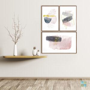 Kit de 3 Quadros Decorativos Abstratos, Escandinavos, Minimalistas para Sala, Quarto, Hotéis, Escritório, Vidro 3mm e Moldura na Cor Tabaco Escuro