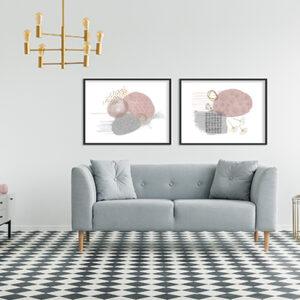 Kit de 2 Quadros Decorativos Abstratos, Escandinavos, Minimalistas para Sala, Quarto, Hotéis, Escritório, 70×50 Vidro 3mm e Moldura na Cor Preto