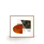 Kit Quadros Abstrato, Geométrico, Salas, Quartos, Hotéis e Escritórios e Home office 80x80cm, Vidro, Moldura na Cor Tabaco.
