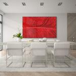 Quadro Pena  Vermelha para Sala, Quarto, Hotéis, Escritório, 140x110cm C/ Vidro 3mm e Moldura cor Preto.