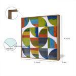 Kit Quadros Abstrato, Geométrico para Salas, Quartos, Hotéis e Escritórios. 60x60cm, Vidro, Moldura na Cor Mel.