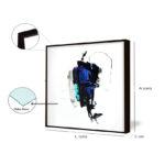 Kit Quadros Minimalista Azul para Salas, Quartos, Hotéis e Escritórios, Home office, 60x60cm, Vidro 3mm e Moldura na Cor Preto.