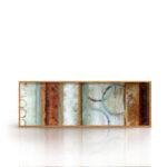 Kit Quadros Abstrato, Quartos, Sala, Hotéis e Escritórios e Home office 120x40cm, Vidro, Moldura na Cor Mel.