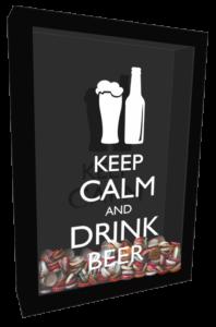 Quadro de tampinhas keep calm and drink beer