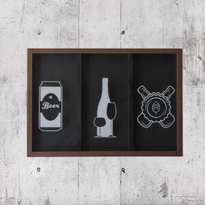 Quadro Decorativo 3 em 1 Porta Tampinhas, Rolhas e Lacres p/ Área Gourmet, 63x43cm C/ vidro 3mm e Moldura em Madeira na Cor Tabaco